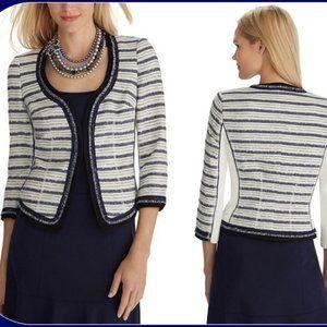 White House Black Market Striped Tweed Jacket